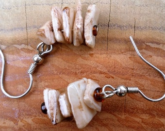 Brown conch shell earrings