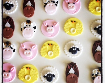 12 x Farm Animal  Fondant cupcake Toppers - Horse, Chicken, Cow, Pig