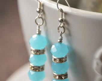 Turquoise and diamante earrings
