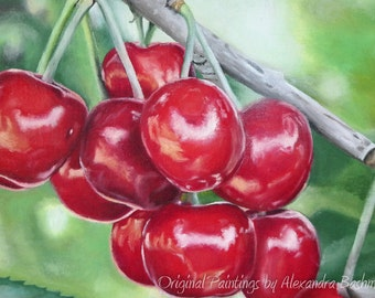 "ORIGINAL Oil Painting, ""Sweet cherries"", Hand Painted, Art on Canvas - Signed by Artist"