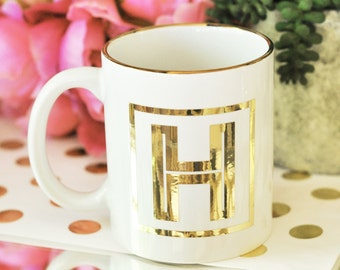 Monogram Coffee Mug- Personalized Bridesmaids Gifts - Bridal Party Gifts, Birthday Gifts