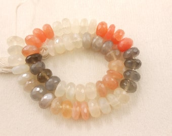 "AAA Natural Moonstone Multi Rondelle Faceted Gemstone Beads 9"" Strand 7.5MM"