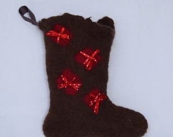 Christmas Stocking, wet felted