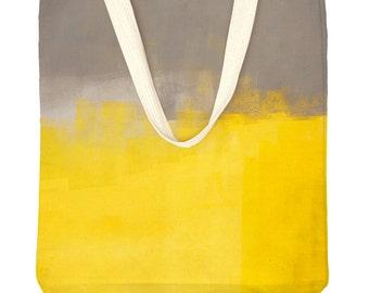 yellow & grey tote bag