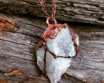 Natural crystal necklace, natural jewelry, heart shape geode wrap in copper healing crystal