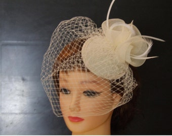 White Ivory Birdcage veil Hat Fascinator Weddings  Race Royal Ascot  frenchnet Teardrop hat,Vintage inspired French net feather mini HAT