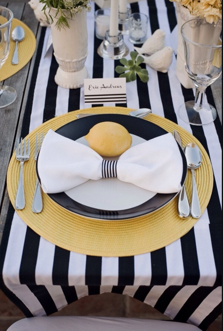 Navy Blue And White Striped Tablecloth, Table Runner, Cotton Stripped  Wedding Tablecloth, Nautical, Black And White, Beach Wedding, Decor