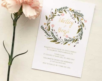 Floral Wedding Invitation Printable Invitation