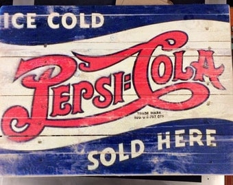 Handmade Wooden Vintage Pepsi Cola sign
