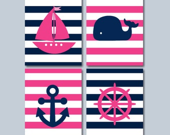 Girl Nautical Nursery Wall Art,Pink Navy Nautical Wall Art,Navy Pink Whale Nursery Wall Art,Boat Anchor Whale Wall Art- UNFRAMED Set  4 C188
