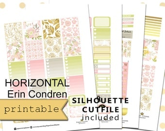 HORIZONTAL Printable Planner Stickers for use with Erin Condren Life Planner/Golden Spring Weekly Planner Sticker Kit/Digital Download