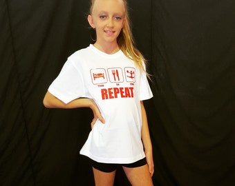 Sleep Eat Cheer Repeat Active Fitness Cheerleading Gym Motivational T-Shirt