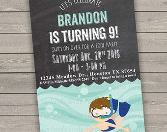 pool party invitations boy printable, swimming pool birthday party invitation, swim party kids birthday party invites digital or printed
