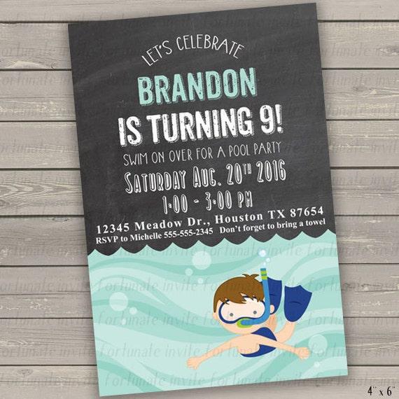 Pool Party Invitation Boy Printable
