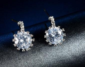 Real Zircon Crystal Wedding Earrings, Bridal Earrings, Vintage Earrings, Bridesmaid Earrings