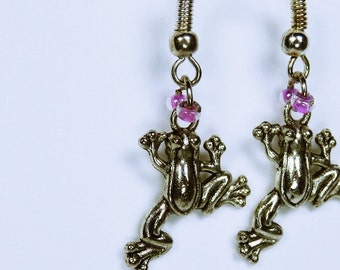 Earrings frog - frogs with pink beads - Silver earrings