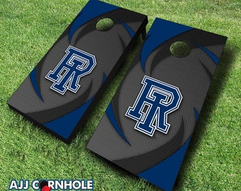 Officially Licensed Univserity of Rhode Island Swoosh Cornhole Set with Bags - Bean Bag Toss - Rhode Island Cornhole - Corn Toss