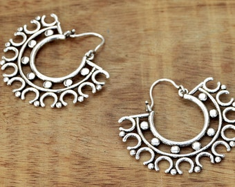 Tribal Hoop Earrings, Silver Earrings, Silver Hoop Earrings, Ethnic Earrings, Gypsy Earrings, Silver Hoops, Indian Earrings, Tribal Jewelry