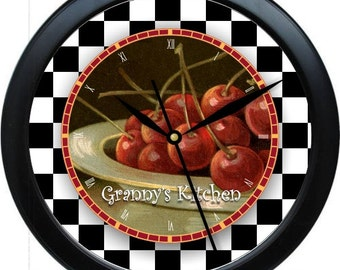 "Country Cherries Personalized 10"" Kitchen Wall Clock"