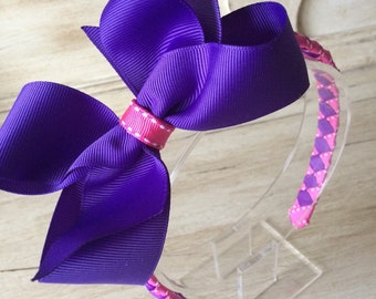 """Super large 5"""" boutique bow woven girls headband in shocking pink & deep purple"""