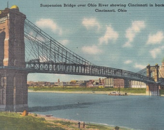 Covington, Kentucky Vintage Postcard - John A. Roebling Suspension Bridge Over Ohio River Showing Cincinnati in Background