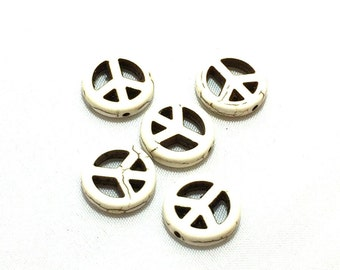 Peace Sign Beads / Peace Sign Charms / Howlite Peace Sign Beads/ 15mm Peace Sign Beads SET OF FIVE