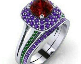 14k white gold ruby amethyst emerald engagement ring with band handmade size 5