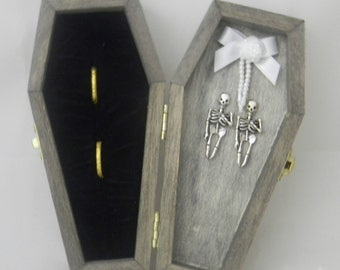 Wedding Ceremony Party Coffin Skeleton Goth Wicca Death do us Part Ring Bearer Pillow Box