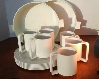 Per Alimenti Dishes, Cups andTwo Large Bowls,..Service for Six..White Casual or Picnic Set