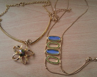 2 vintage gold coloured necklaces
