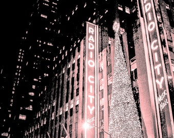 Pink Radio City New York  Photography Print, Bedroom Wall Art for Her