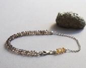 Smokey Quartz & Citrine Gemstone Bracelet w/ Sterling Silver Chain, 5mm Healing Stones, Minimal Style, Layering Stacking Semi-Precious Stone