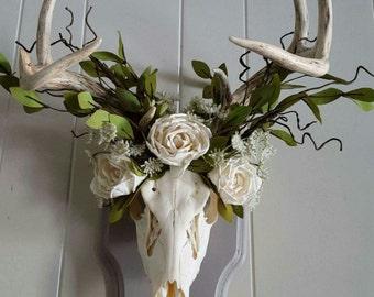 Mounted Deer Skull with Floral Crown