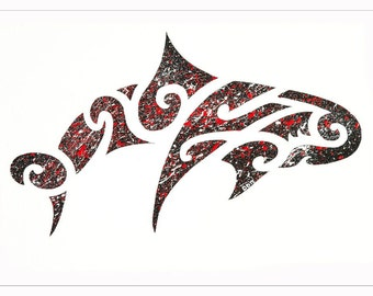 Limited Edition of 5 Maori Inspired Original Splatter Dolphin Print A2 - Free Shipping