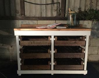 Handmade Sideboard with Vintage Apple Crates