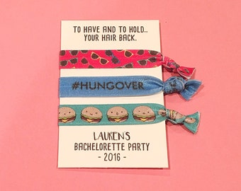 bachelorette party favor hair ties // #hungover // to have and to hold.. your hair back // custom