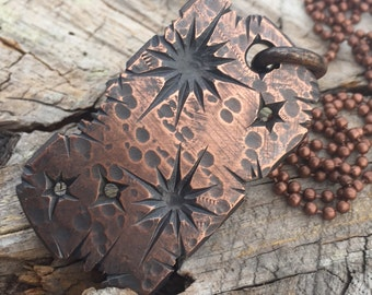 Copper Dog Tag with Shrapnel finish by @justin_silvers