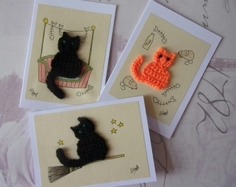 Cat Card Set, Card Pack, Cat Lover gift, crazy cat lady Crochet Greeting Card, Birthday Card Halloween card, Handmade Watercolour Blank Card
