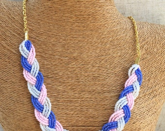 Braided pink and periwinkle necklace, periwinkle necklace, pink necklace, pink bridesmaids, periwinkle bridesmaids, periwinkle bib, pink bib