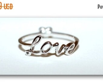 LOVE Scripted 925 Sterling Silver Ring