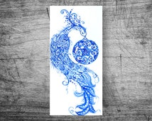 """Art & Collectibles Original greeting card """"winter bird"""" handmade  Blue Ethnic patterns New Year Drawing brush Magic Blooming flowers Frosty"""
