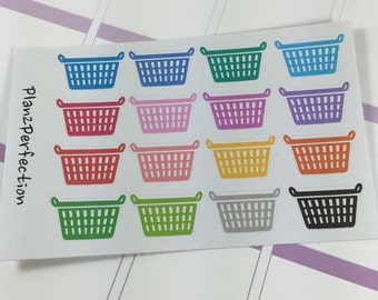 Laundry Basket Planner Stickers- Perfect for Planning in Erin Condren, Plum Planner, InkWell, and KikkiK