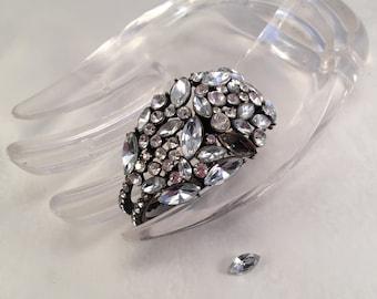 Rhinestone Bracelet Vintage Glam Jewelry, 1980's, Cuff Wrist Bracelet, As Is Item#RB808929