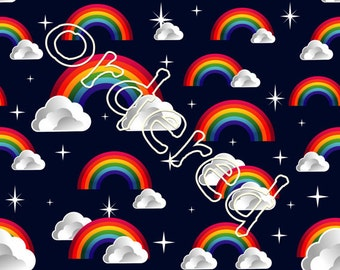 Navy Rainbows Cotton Lycra Woven 2 way stretch UK Seller Custom Print