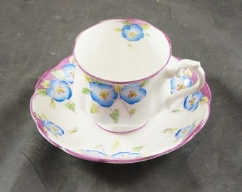 Royal Albert Fine Bone China Cup and Saucer with Early Back Stamp BLUE FLOWERS
