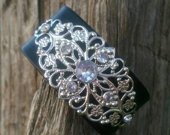 Beautiful Rhinestone Filigree Centerpiece Leather Cuff Bracelet in Black, Brown, Turquoise or Frusia