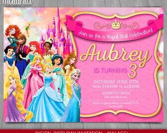 Disney Princess Invitation - Disney Princesses Invite - Princess Birthday Printed Invitation - Ariel Aurora Belle Anna Elsa (PRIN04)