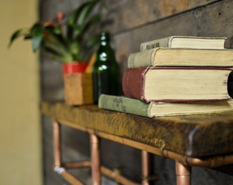 Reclaimed oak and copper pipe shelving unit
