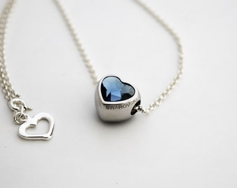 """Silver Necklace with Swarovski crystal """"In love"""""""