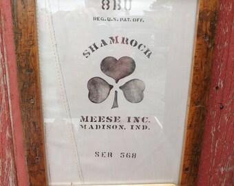 Framed,old industrial cart, emblem. restaurant decor